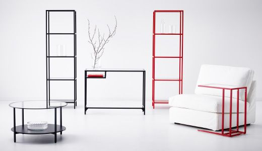 VITTSJÖ metal and tempered glass living room furniture: laptop stand, shelves and coffee table.