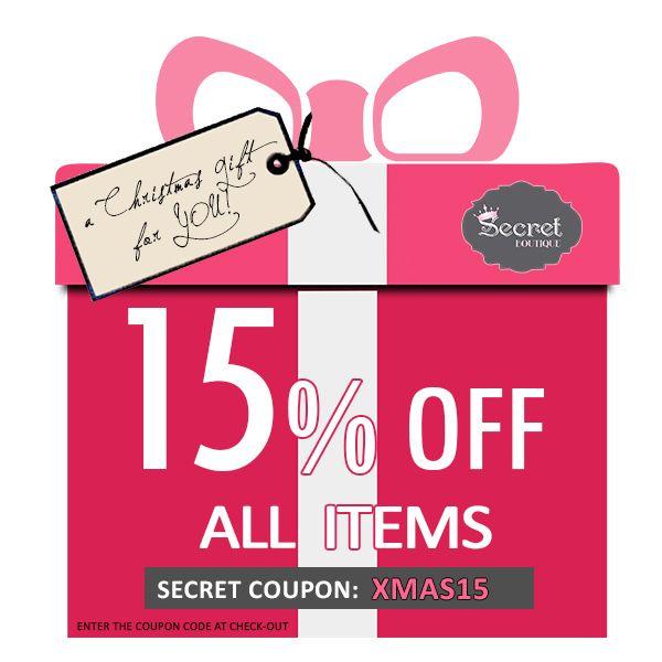 Γιορτάζουμε τα Χριστούγεννα και τα 17.000 likes με ένα δώρο για όλες! Συμπληρώστε τον κωδικό XMAS15 στις επόμενες online αγορές σας και ψωνίστε με 15% έκπτωση και φυσικά δωρεάν αποστολή στο χώρο σας! Merry Christmas and Happy Shopping! www.secretboutique.gr