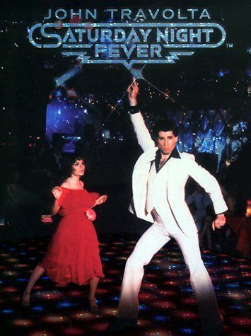 *SATURDAY NIGHT FEVER, (1977) Poster:  A Brooklyn youth feels his only chance to get somewhere is as the king of disco floor.  Starring:  John Travolta, Karen Lynn Gorney, Barry Miller