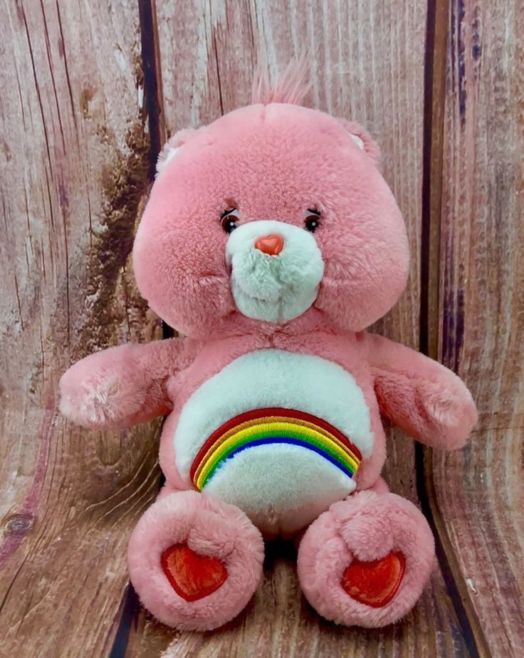 Care Bear Cheer bear Teddy 2002 Pink rainbow plush soft cuddly toy comforter