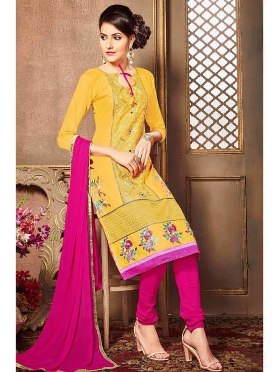Melodic Yellow and Pink Salwar Kameez