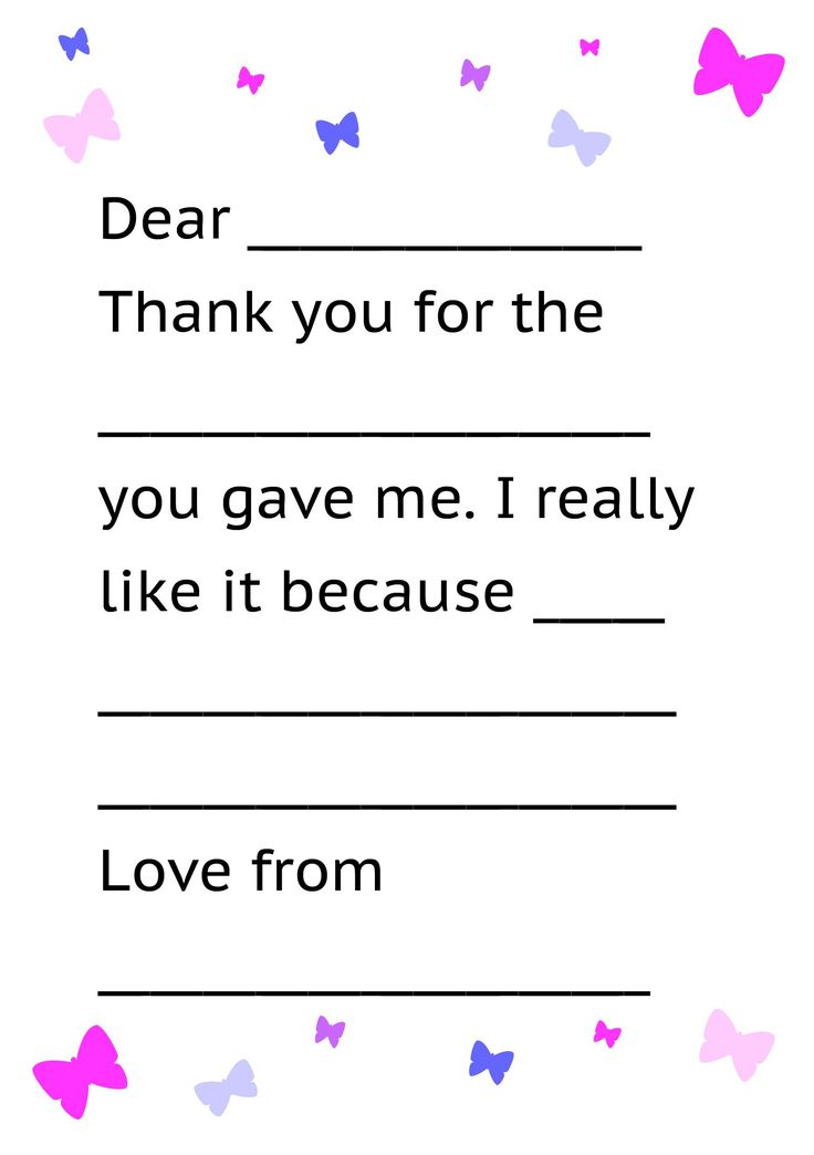 writing a thank you note for a gift