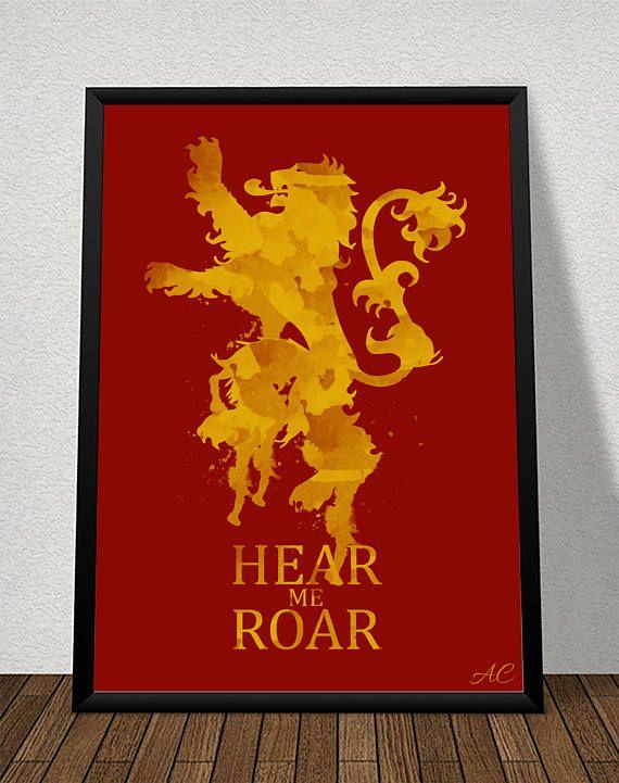 GoT Lannister House Sigil Watercolor Artwork - 12x18- by (Atom Design)