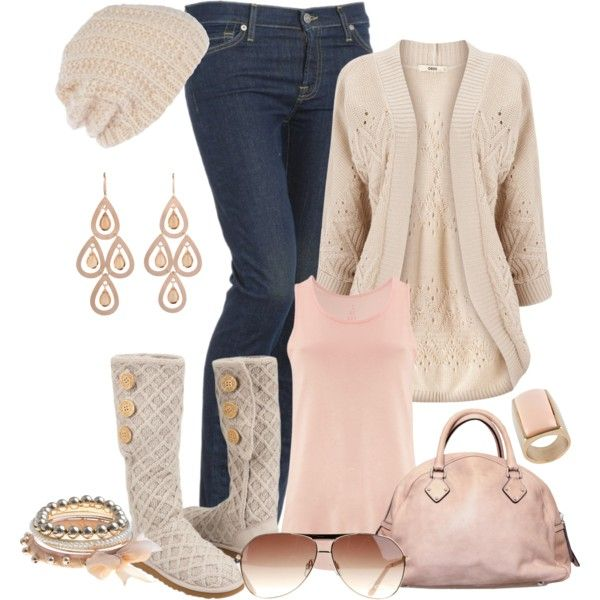 winter fashion. denim jeans, beige cardigan, soft pink tank, ugg boots