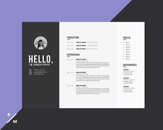 Creative Resume Template Cover Letter For Professionals Etsy Modele De Cv Creatif Modele Cv Cv Creatif