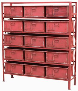 apex metal chest in red - 15 drawers