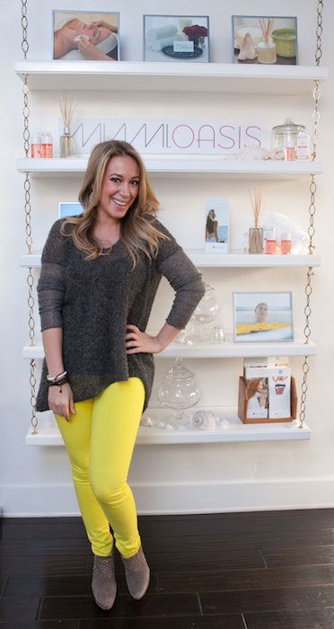 Actress, singer, food blogger, Haylie Duff at Wella Beauty Bar...