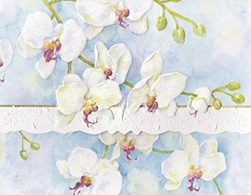 Carol Wilson White Orchids 10 ct Embossed Note Card Set For Arts Sake //Price: $ & FREE Shipping // #healthbenefits #lifestyle #healthy #energy #healthypeople   #relax #nocancer #firstaid #womenhealth #menhealth