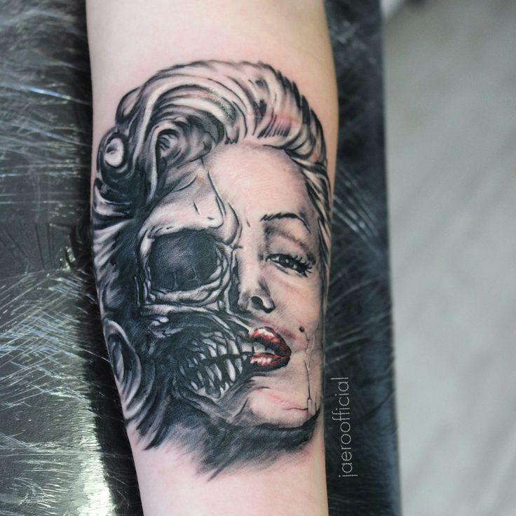 Sergey Jaer #tattoo #rtats #jaer_x #ink #monroe #merilynmonroe #skull