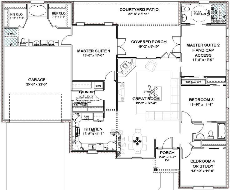 732126a7baee923218a9f316a04519e6 house building building ideas 46 best floor plan images on pinterest,Two Master Suite House Plans