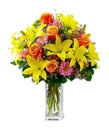 Blooming Stars: Includes lilies, roses, daisies and fresh greens.