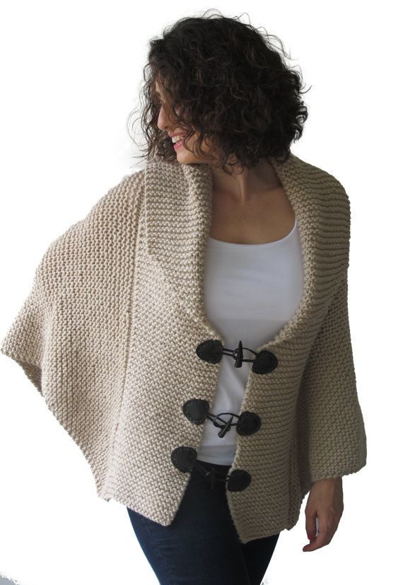 Plus Size Hand Knitted Ecru Poncho with Leather Rope by Afra on Etsy, $96.00