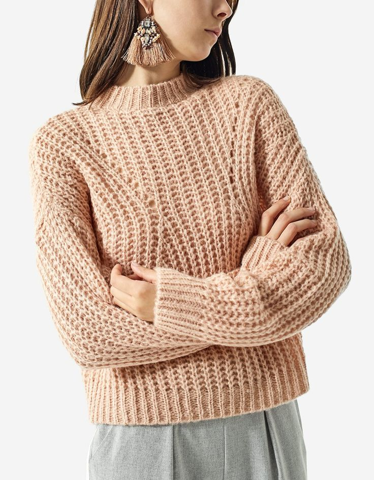 Purl knit cropped sweater