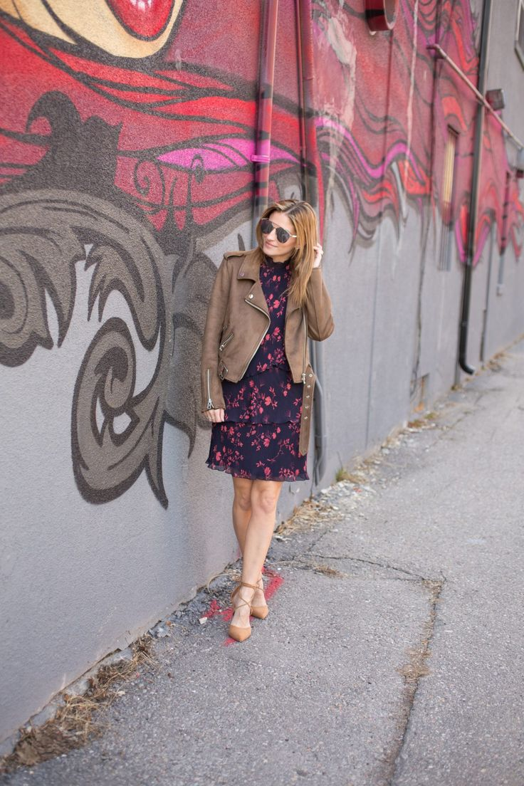 Marciano Cherry Blossom Dress, Le Chateau nude lace up heels, Zara suede moto jacket, Dior So Real Sunglasses