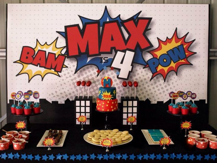 Superhero Party Dessert Table Ginger Kiss Parties