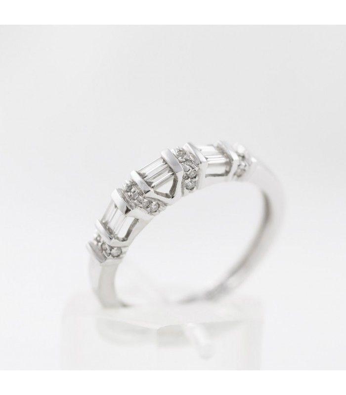 Media alianza de oro blanco 18kt y diamantes baguette y brillante 0,38ct - Subastas Regent's | Joyas y Antigüedades