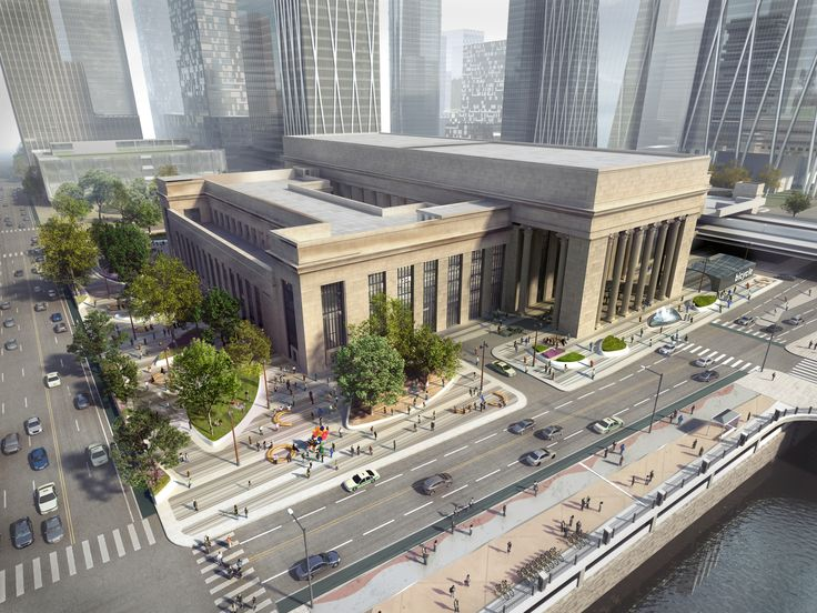 Amtrak reveals new designs for Station Plaza at 30th Street Station - Curbed Phillyclockmenumore-arrownoyes : Goodbye, polka dots. Hello, bike station.