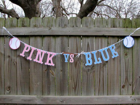 Baseball Gender Reveal Banner Pink VS Blue-Opening Day-Baseball-Team Pink-Team Blue-Boy Or Girl-Baby Shower-Gender Party-Photo Prop on Etsy, $15.95