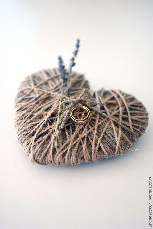 Купить Подушечка-сердце для колец - бежевый, джут, джутовый шпагат, лаванда, Лавандовая свадьба