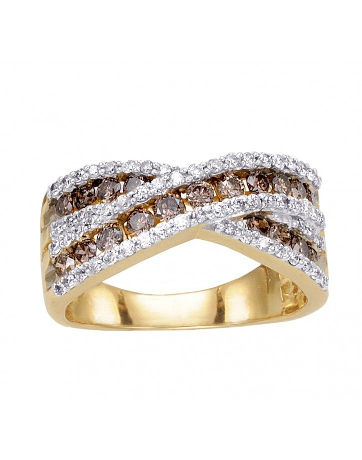 Angara Brown Diamond Multi-Row Crossover Ring in Yellow Gold aY763H