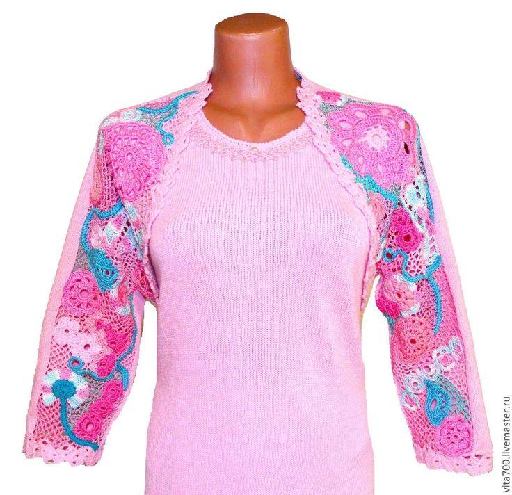 """Платье """"Розовый букет"""" - бледно-розовый,платье вечернее,платье вязаное"""