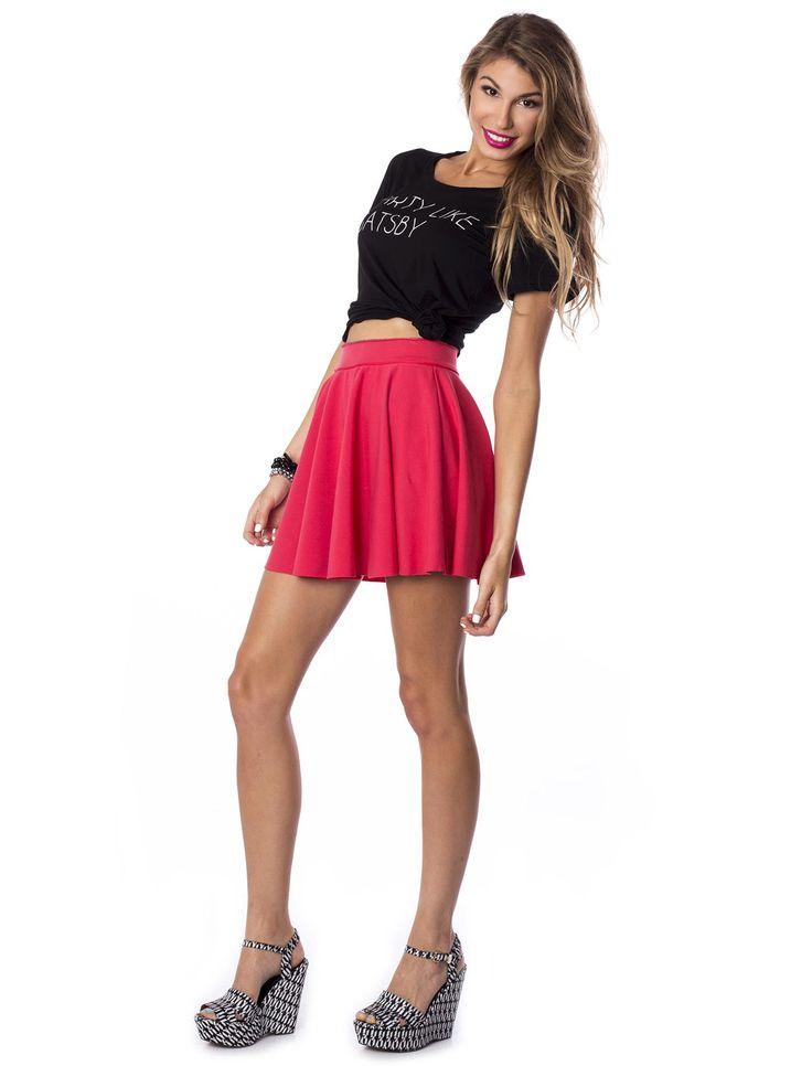 Raspberry Heat Skater Skirt #red #skirt #skater #summer #colors #raspberry #style #chic