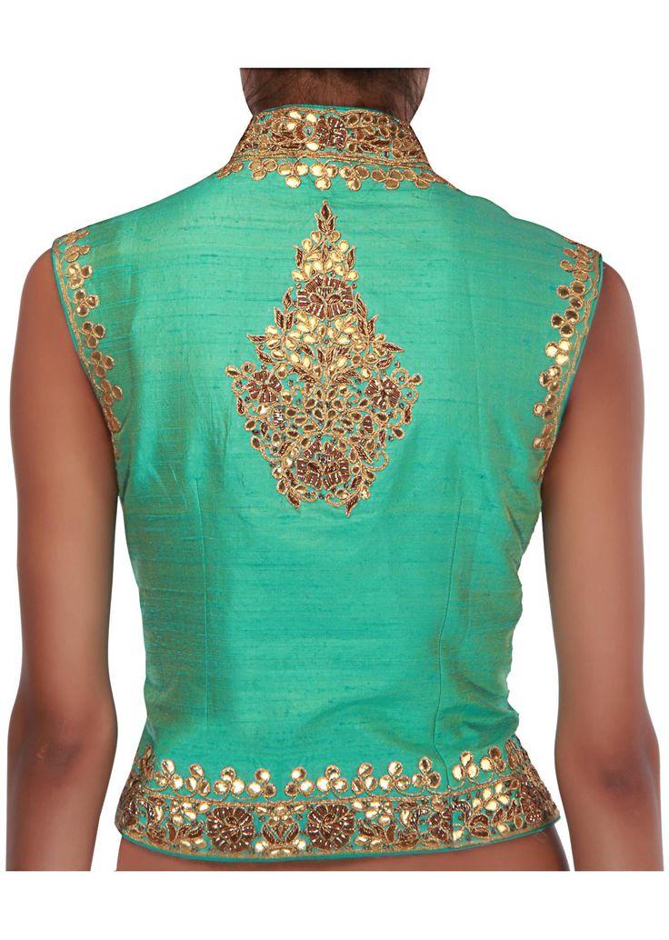 Gorg Back details: two-toned jacket blouse embellished in gotta patti and zardosi http://www.KalkiFashion.com/