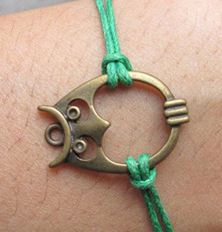 owl wax cord bracelet, wax cords bracelet