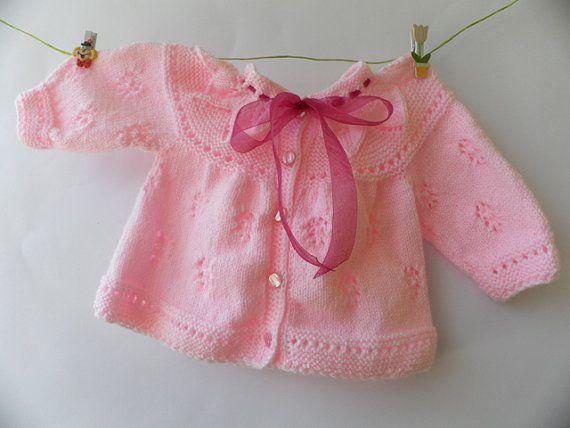 Knitted baby cardigan white baby vest by Svetlanababyknitting