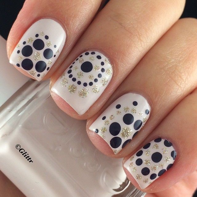 Black white and gold dotticure polka dot mani
