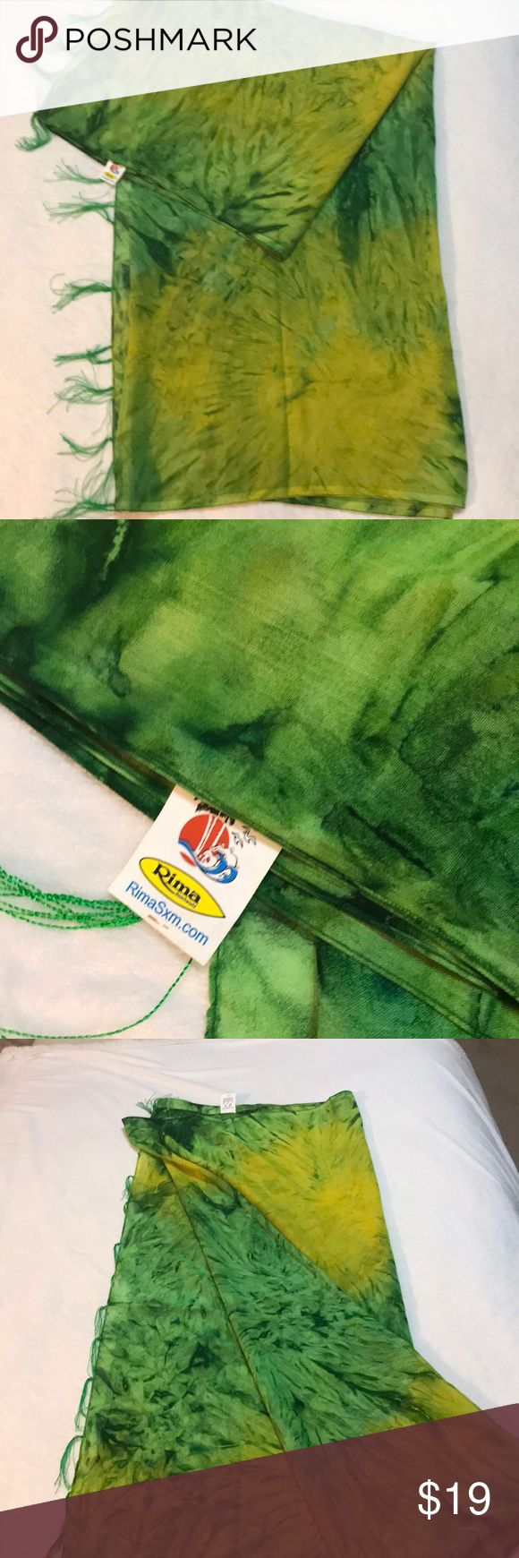 Long Sarong - Green & Yellow Tie-Dye with Tassels This is a beautiful sarong.  It's one size so it will fit anyone.  **Model image is to show style only and is not the color I'm selling.  I've also added an image of 9 ways to wear a sarong. ☺️ Rima Swim Sarongs