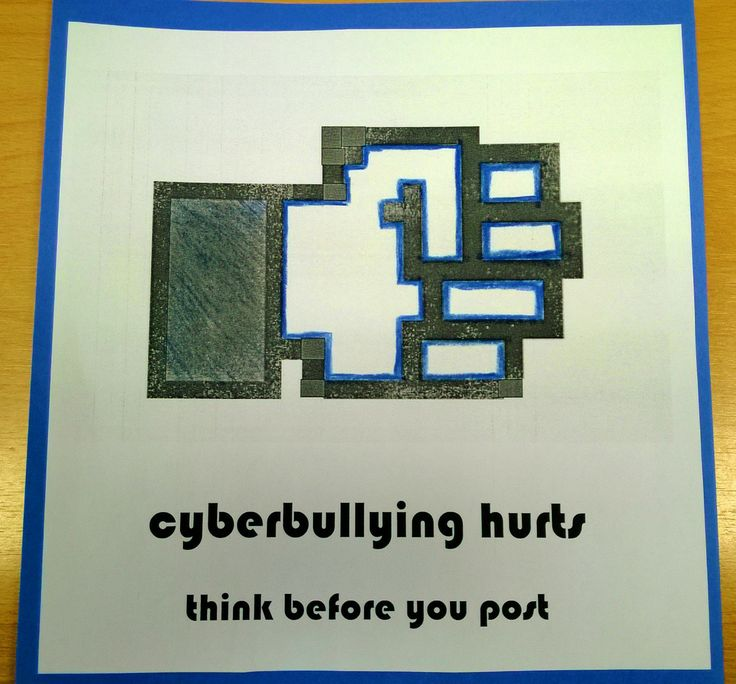 Cyberbullying Prevention with a Facebook fist. Signs were put up in the entrance of the computer lab at the library
