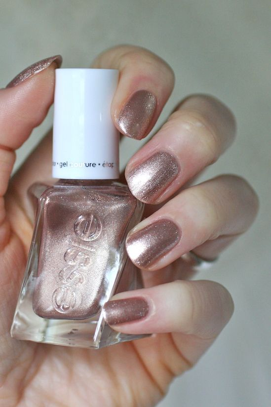 Essie To Have and to Gold - antique rose gold #nail polish / lacquer / vernis, swatch / manicure by Essie Envy from the bridal gel couture collection