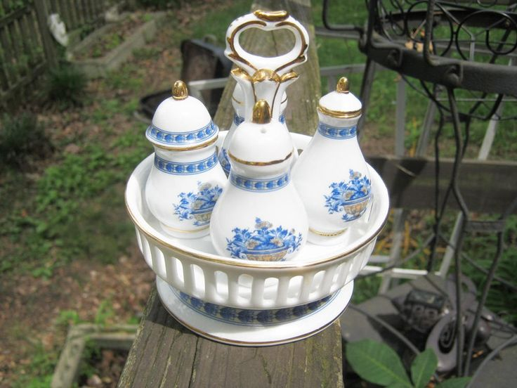 Limoges China Condiment Set, White China With Blue Trim, Salt And Pepper, Oil And Vinegar, Holder With Handle, Maker's Mark, Gold Trim, by Mybeachandmore on Etsy