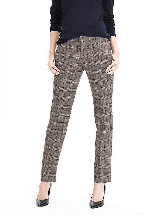 brown plaid trousers in ryan fit from banana republic. beautifully matched plaid. actually no black nor grey just heathery purply browns and taupes making me think this is SSu