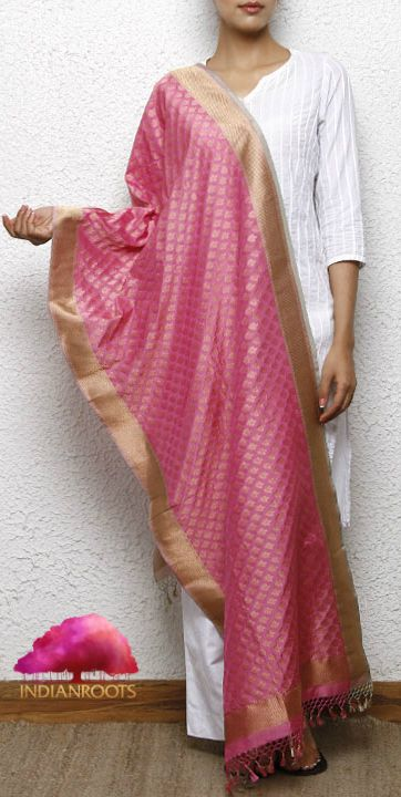 Pink Silk Dupatta with Zari Work by Roliana at Indianroots.com