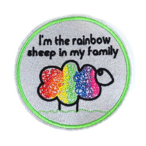 I'm the Rainbow Sheep in my Family.  Iron-on patch from Make Vancouver.