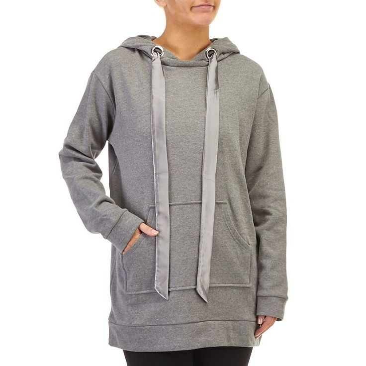 Juniors Long Fleece Lined Hoodie Color: Ash Size: Large
