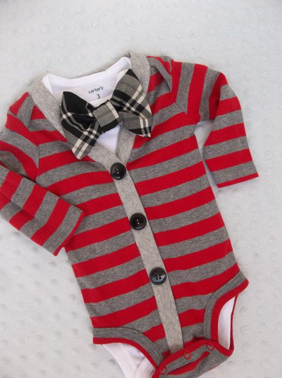 Baby Boy  Cardigan  Set Red  with  Black Plaid Bowtie Oh How Handsome