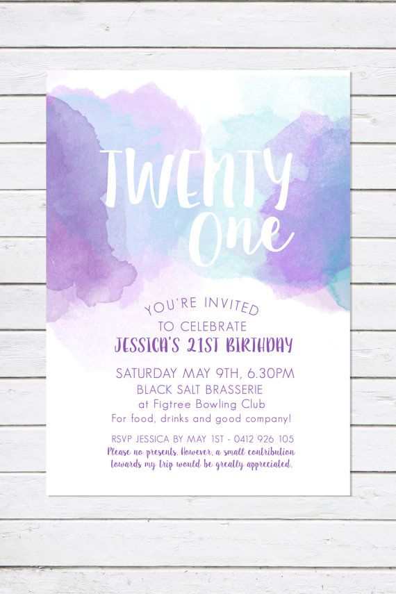 21st Birthday invitation, Twenty One, Watercolour invitation, purple, teal, turquoise, birthday party
