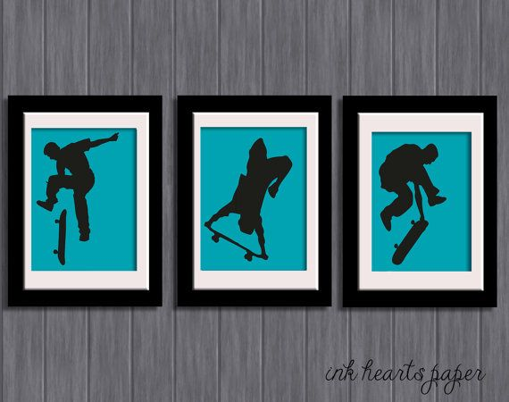 Set of 3 - boys / teenagers room Wall Art - Skater / Skateboarder / Skate