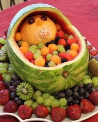 Watermelon Bassinet CenterpieceFruit Bowls, Fruit Salads, Baby Shower Ideas, Cute Ideas, Baby Fruit, Cute Babies, Showerideas, Baby Shower Food, Baby Shower