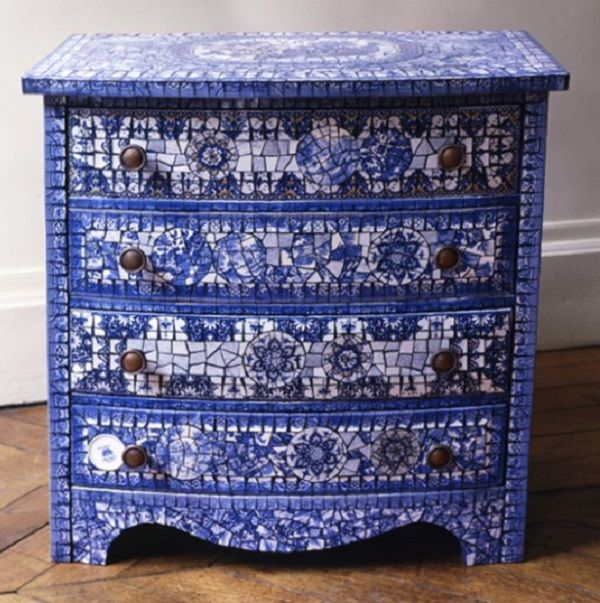 Broken plate mosaic chest by Véronique Coty, Loire, France.
