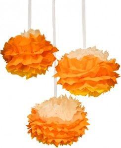 Candy Corn Tissue Paper Poms  http://www.nashvillewrapscommunity.com/blog/2010/07/how-to-make-tissue-flower-pom-poms/