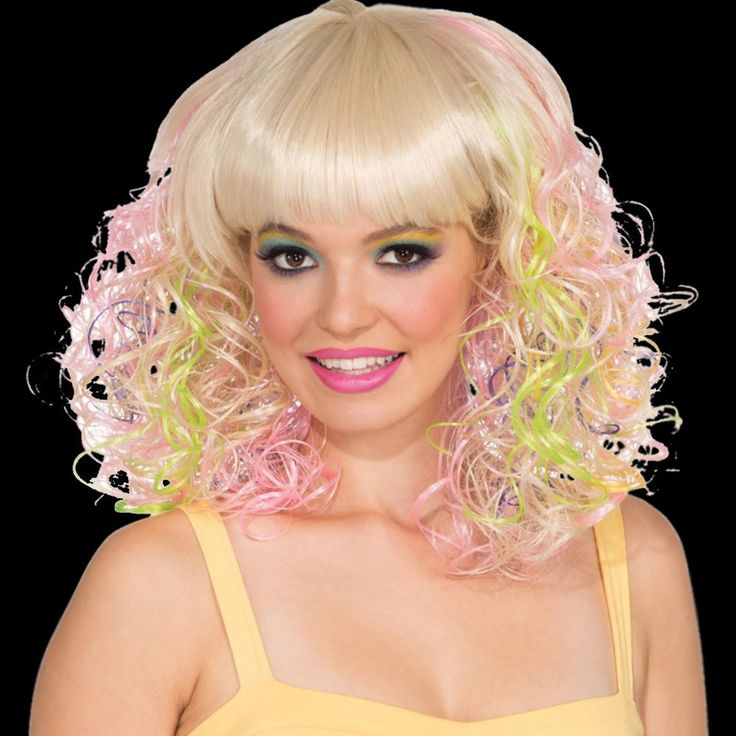 Pastel Curl Wig long 80s hair adult female clown costume dance party scene model free shipping #Rubies #FullWig #Head2ToeTheatrical