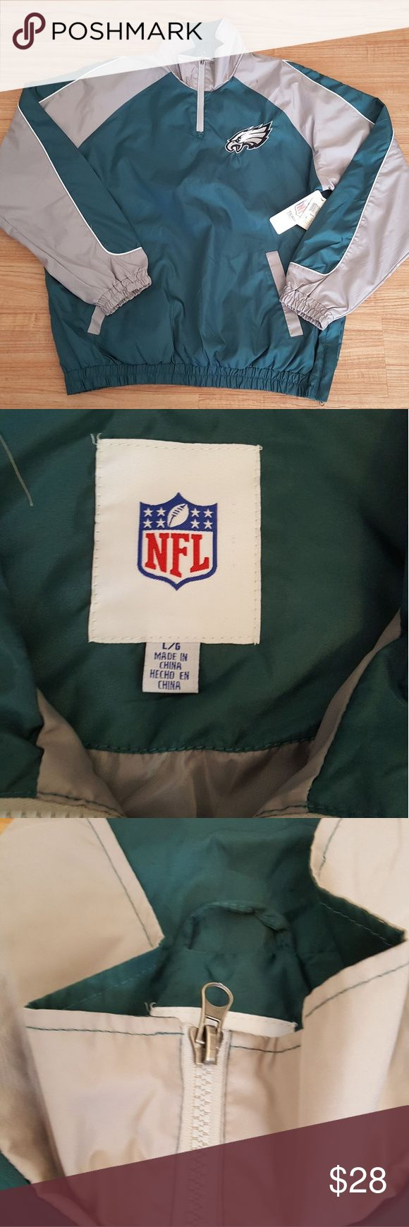 NFL Apparel Philadelphia Eagles windbreaker NWT Size L.  Has small stain on shoulder (see pic)  NWT NFL Team Apparel Jackets & Coats Windbreakers
