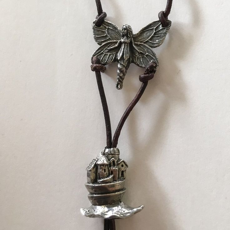 Shining Bee original Antique Brown Leather/Pewter Fairy Castle Necklace