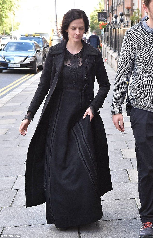 What a lady:Eva Green even managed to look sensational in a severe Victoria era costume on the set of Penny Dreadful