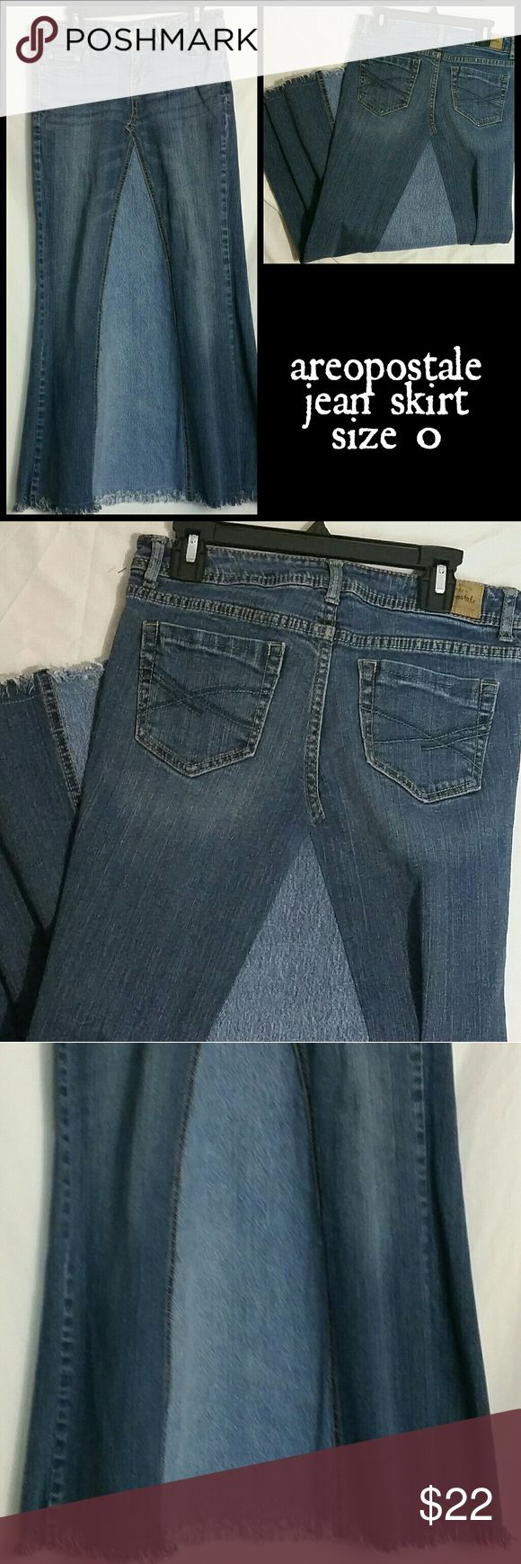 """Areopostale jean skirt size 0. Modest. No splits. Great skirt! Intentionally Frayed hem won't need ironing, just wash and go. Great for school mornings. Modest. No splits. Spready enough to run and play softball in! Great for church camp. Measurements taken when lying flat :  waist 14"""" hips 14.5"""" length 34 Aeropostale Skirts Maxi"""