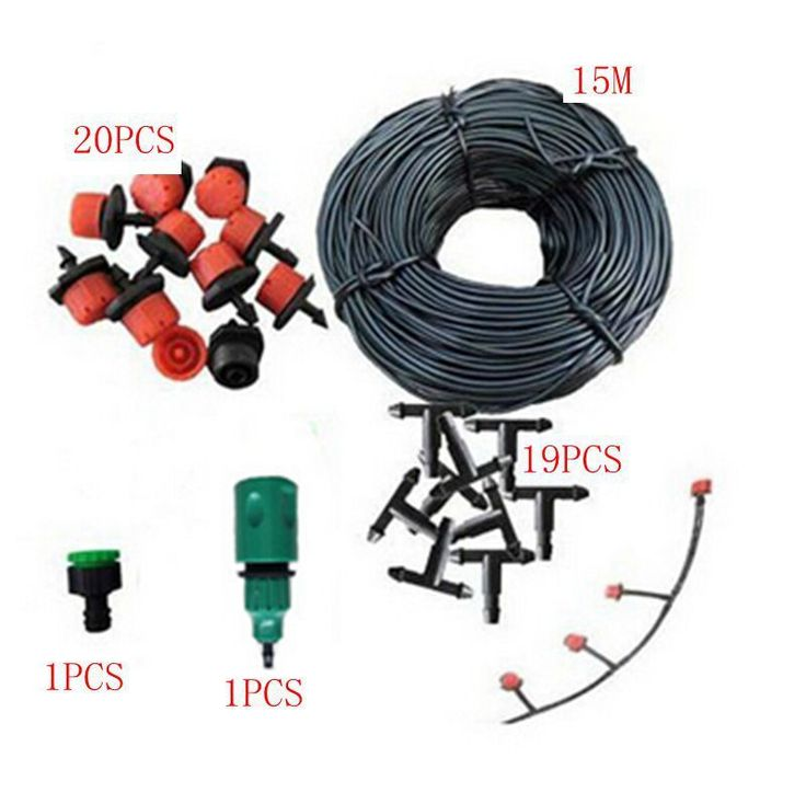 buy 15m 47mm hose 20 drip nozzles diy for garden sprinklers sprinkling water plants suit greenhouse #greenhouse #plastic